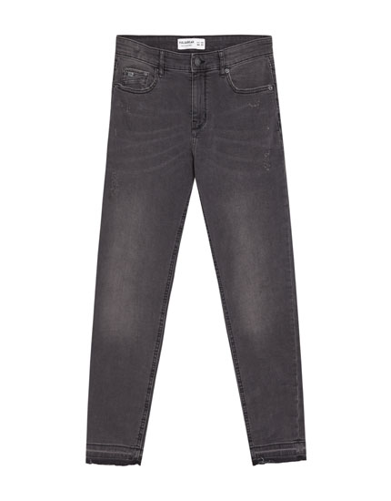 Jeans superskinny gris