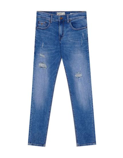 Superskinny-Jeans mit Schlitzen
