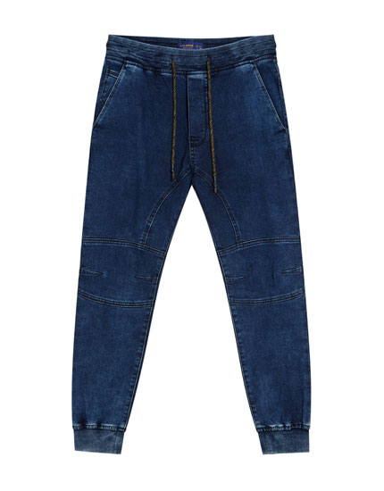 Denim jogging trousers