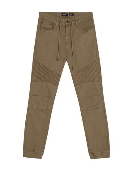 Pantalon denim motard