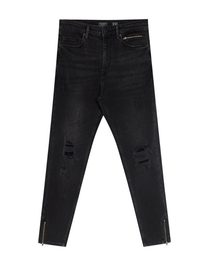 Jeans carrot fit negro cremallera