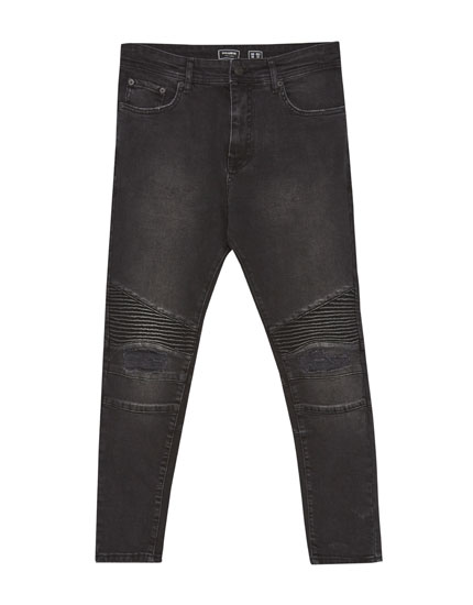 Carrot fit biker jeans with zip