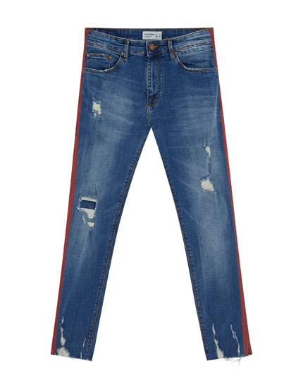 Texans skinny fit llista lateral