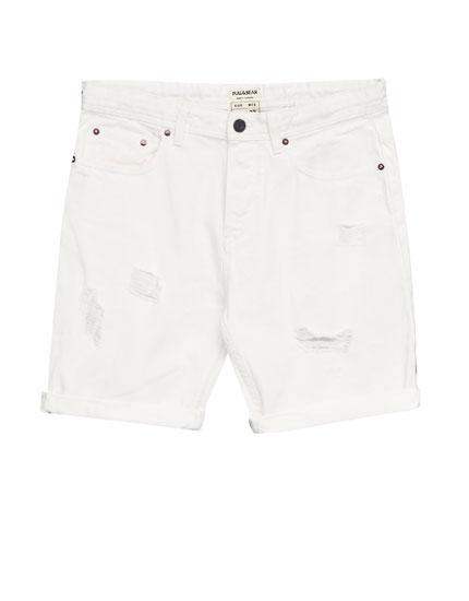 Jeans-Bermudashorts mit Rissen