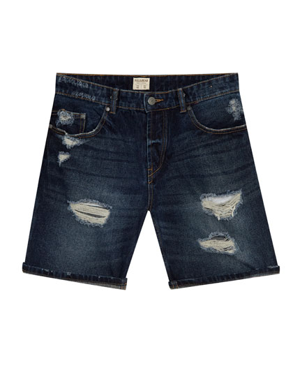 Destroy denim bermuda shorts