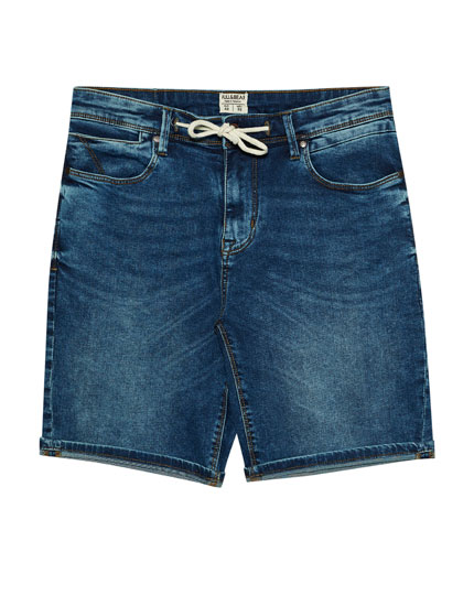 Faded blue denim Bermuda shorts