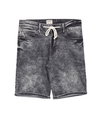 Grey faded denim Bermuda shorts