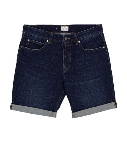 Dark blue denim Bermuda shorts