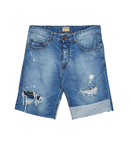 Denim bermuda shorts with panelled hems