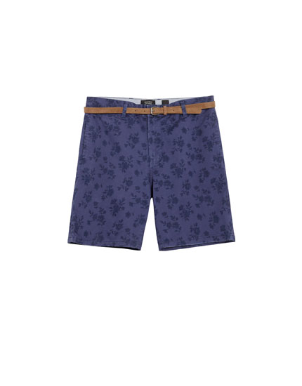 Printed chino-style Bermuda shorts with belt