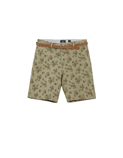 Printed tailored Bermuda shorts with belt