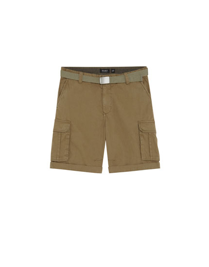 Basic cargo Bermuda shorts with belt
