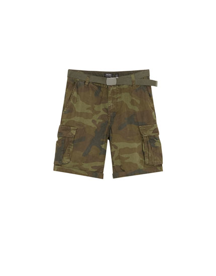 Cargo Bermuda shorts with belt