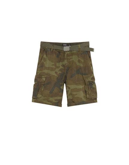 Cargo Bermuda shorts with belt