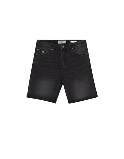 Grey slim fit comfort denim Bermuda shorts