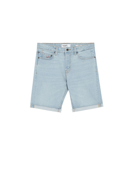 Light blue slim fit comfort denim Bermuda shorts