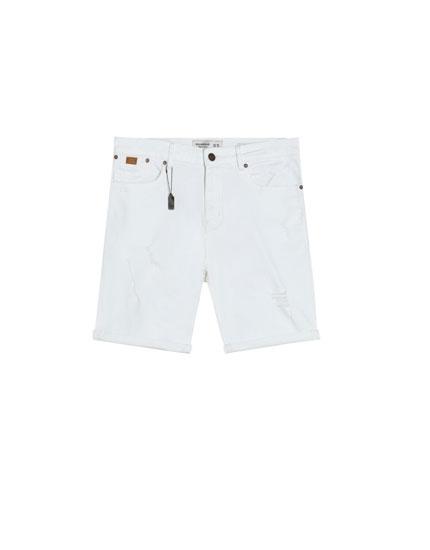 Weiße Jeans-Bermudashorts im Slim-Comfort-Fit
