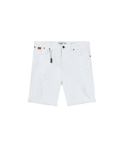 White slim comfort fit denim Bermuda shorts