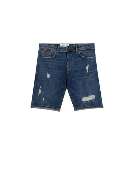 Slim-Comfort Jeans-Bermudashorts mit Rissen