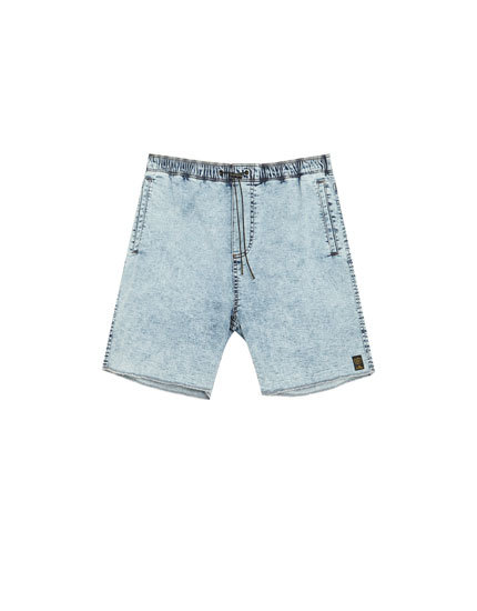 Acid wash denim Bermuda shorts