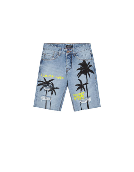 Embellished palm tree print Bermuda shorts