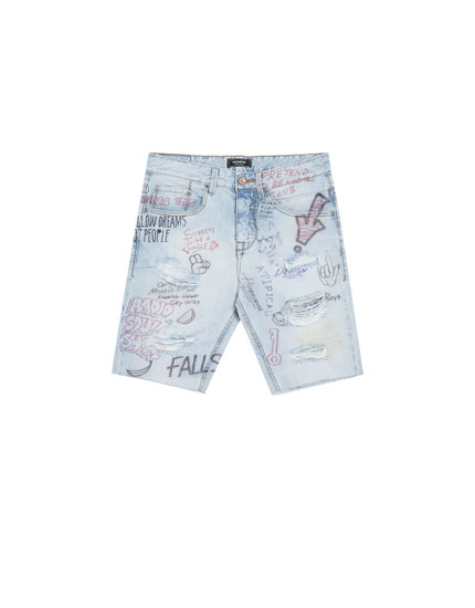Bermuda shorts with hand-drawn designs