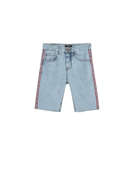 Denim Bermuda shorts with embellished detail