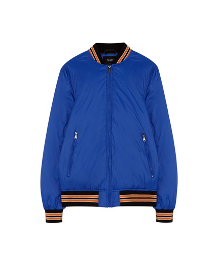 Bomber jacket with striped ribbed trims