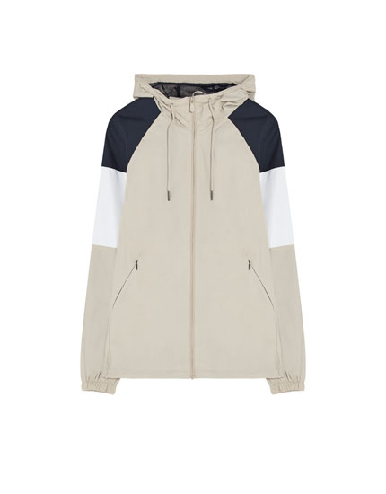 Hooded colour block jacket.
