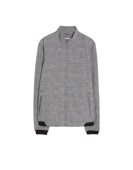 Glen plaid jacket with high neck