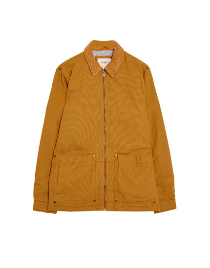 Jacket with corduroy collar