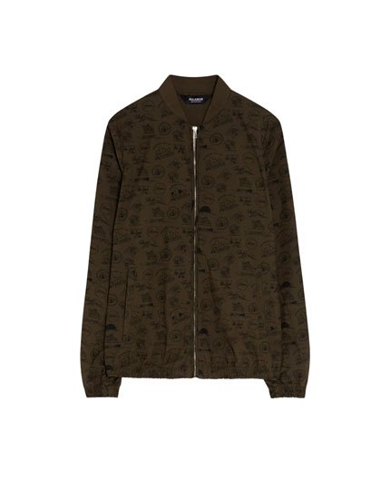Bomber jacket with skull print