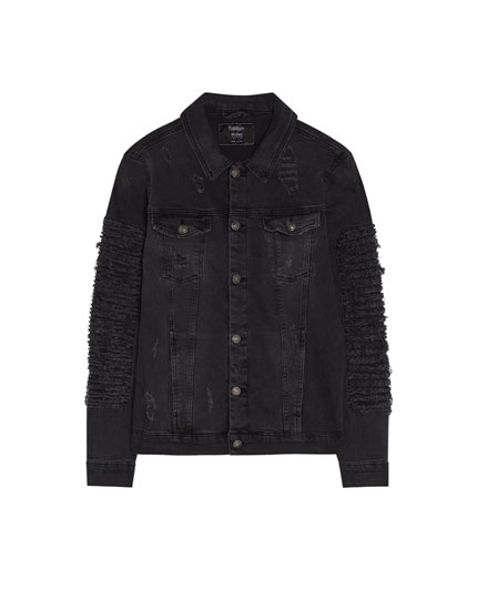 Black ripped denim jacket