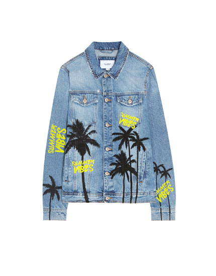 Denim jacket with palm tree print