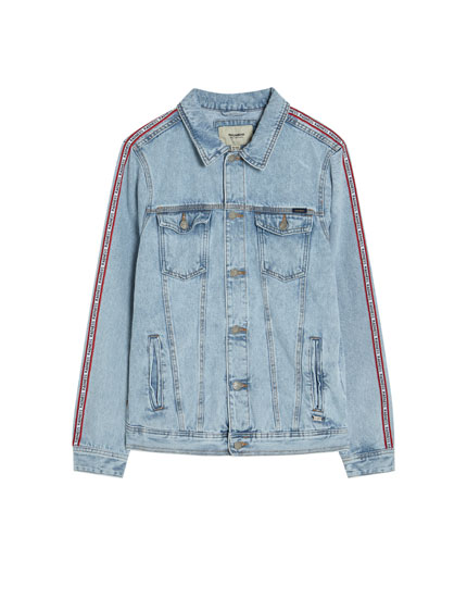 Denim jack met glitterdetail