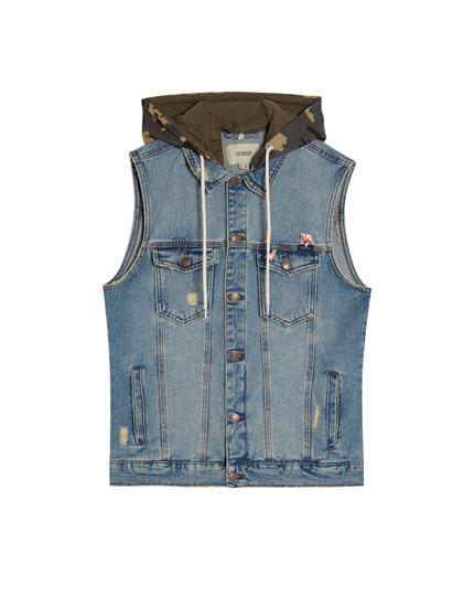Jeans-Weste mit Kapuze