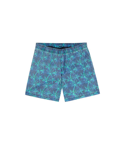 Short de bain washed palmiers