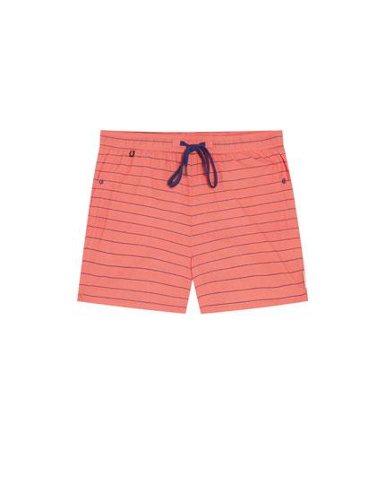 Horizontal stripe print swimming trunks