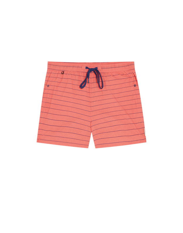 PullAndBear - horizontal stripe print swimming trunks - dark pink - 05800505-V2018
