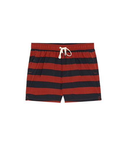 Wide stripe print swimming trunks