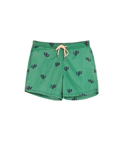 Short cactus print swimming trunks