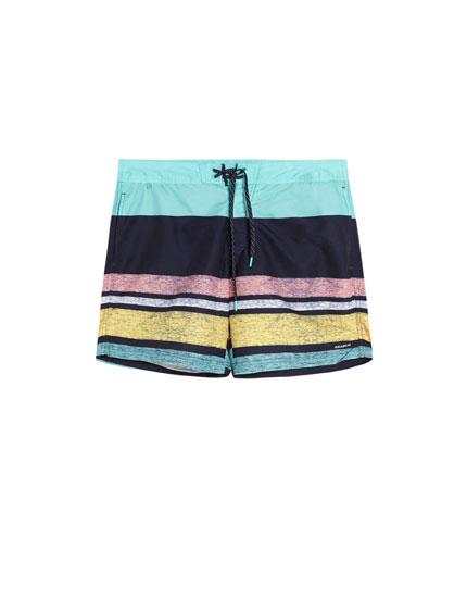 Multicoloured striped print swimming trunks