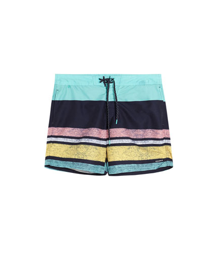 Multicoloured striped print swimming trunks