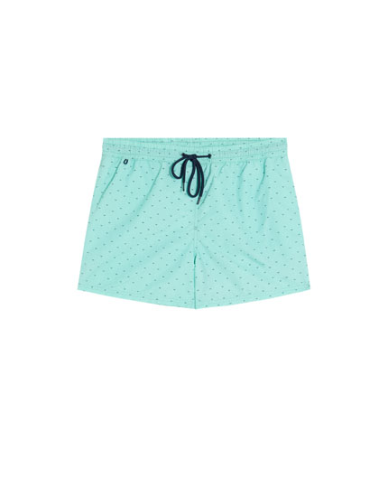 Printed short swimming trunks with drawstrings