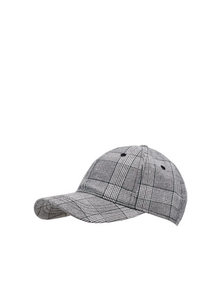 Grey checked cap