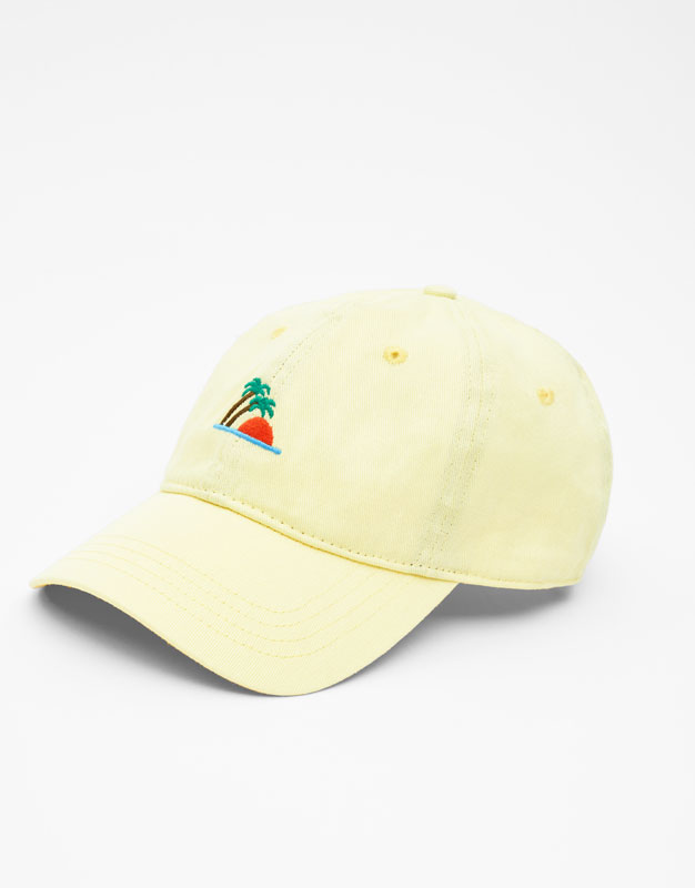 Cap With Embroidered Island by Pull & Bear