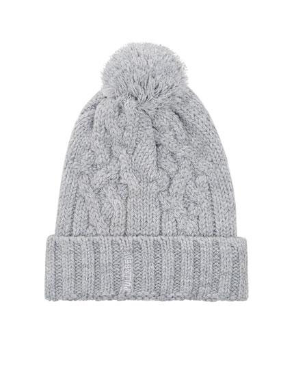Grey pompom hat