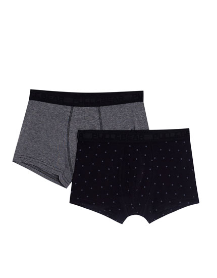 2-pack of checked and grey boxers