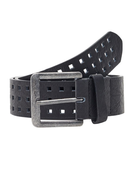 Faux leather belt with perforations