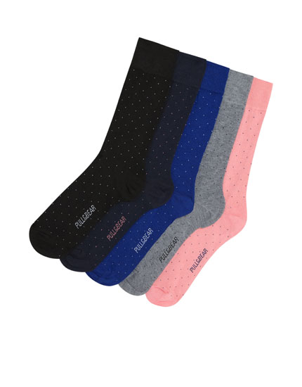 Pack of 5 colourful long socks with dots